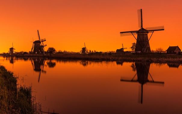 Фото обои канал, зарево, Нидерланды, ветряная мельница, Киндердайк