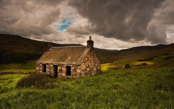 Фото обои поле, пейзаж, дом