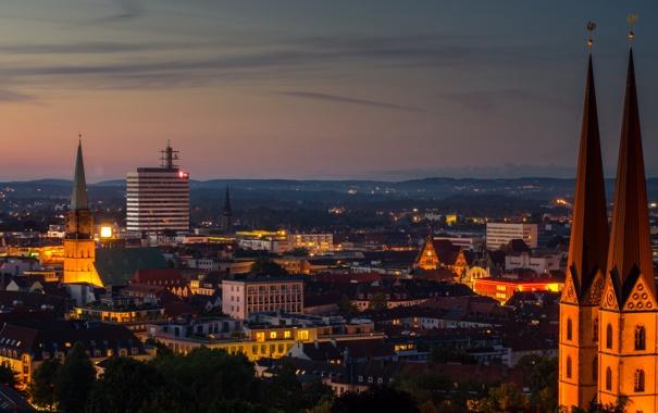 Фото обои город, дома, Германия, фото, Sparrenburg, ночь