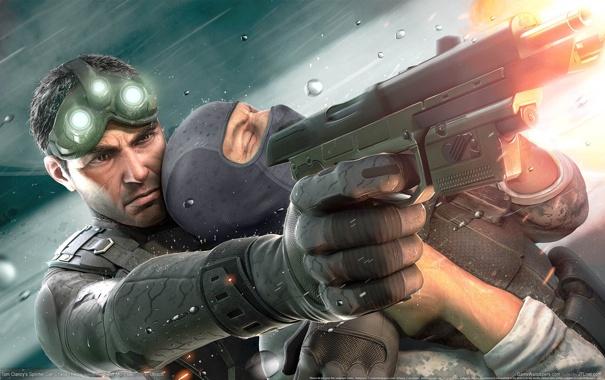 Фото обои Пистолет, Выстрел, Chaos Theory, Tom Clancys Splinter Cell