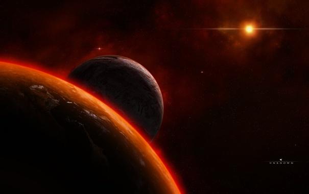 Фото обои space, universe, star, planet, satellite