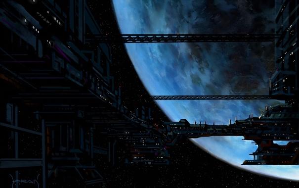 Фото обои арт, корабль, космос, станция, планета