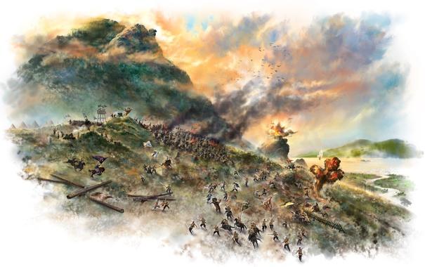 Фото обои горы, озеро, дым, взрывы, арт, битва, сражение