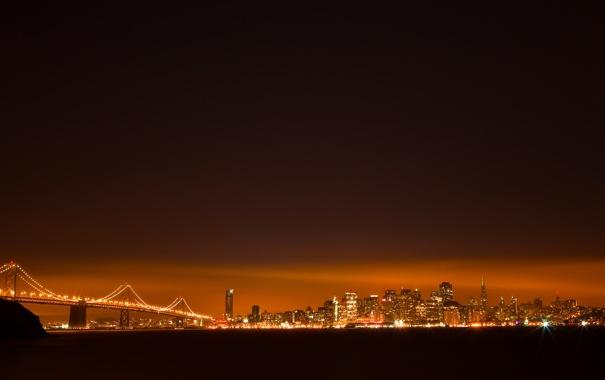 Фото обои небо, вода, ночь, мост, город, огни, здания