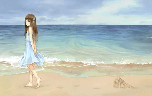 Фото обои песок, море, пляж, небо, девушка, аниме