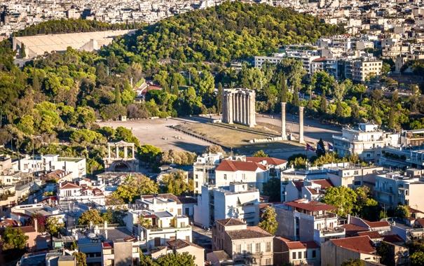 Фото обои деревья, дома, Греция, площадь, колонны, архитектура, вид сверху