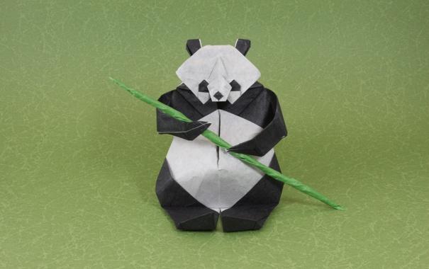 Фото обои зеленый, green, ветка, бамбук, панда, оригами, bamboo