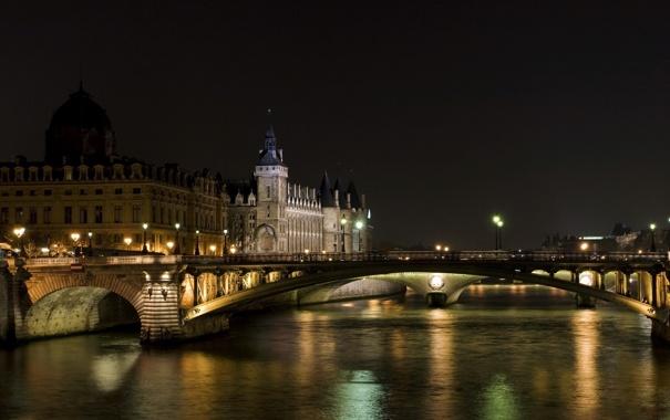 Фото обои вода, ночь, мост, город, огни, здания, париж