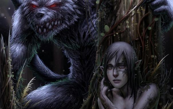 Фото обои лес, девушка, ночь, волк, монстр, Арт, оборотень