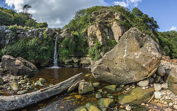Фото обои деревья, горы, ручей, камни, скалы, водопад, мох