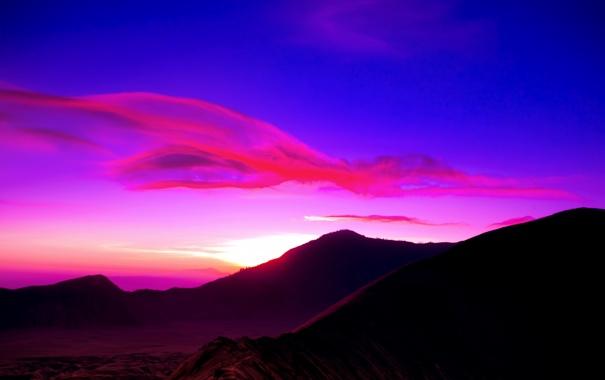 Фото обои небо, облака, горы, рассвет, вулкан, индонезия, Indonesia