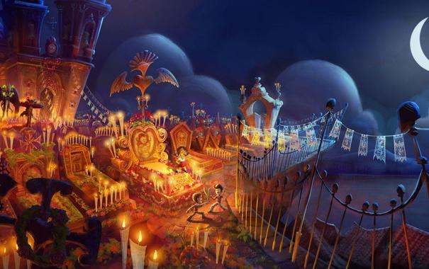 Фото обои мультфильм, дети, ночь, кладбище, The Book of Life