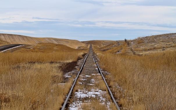 Фото обои дорога, поле, осень, пейзаж