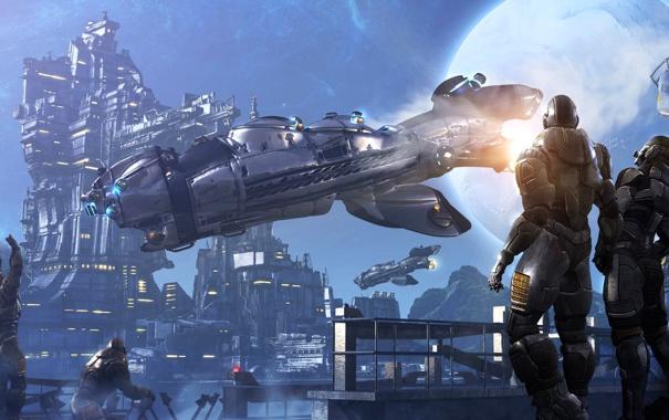 Фото обои луна, роботы, скафандр, пара, космопорт, звездолет