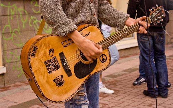 Фото обои музыка, улица, гитара