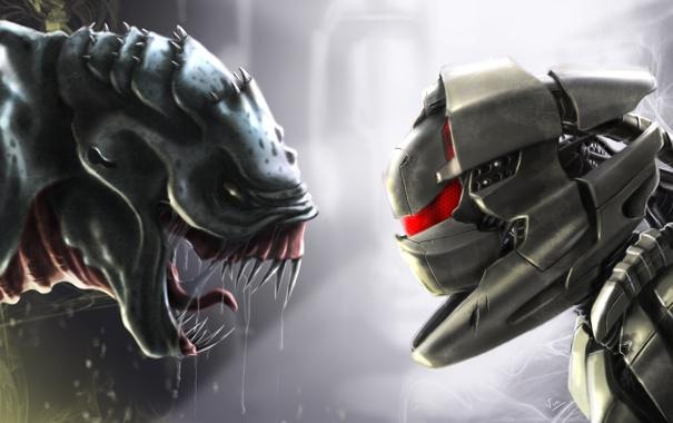 Фото обои фантастика, робот, монстр, противостояние, Robot vs monstre
