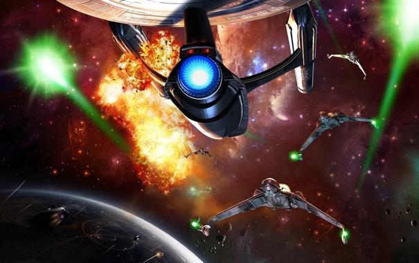 Фото обои космос, взрыв, планета, истребители, enterprise, космический корабль, звездный путь