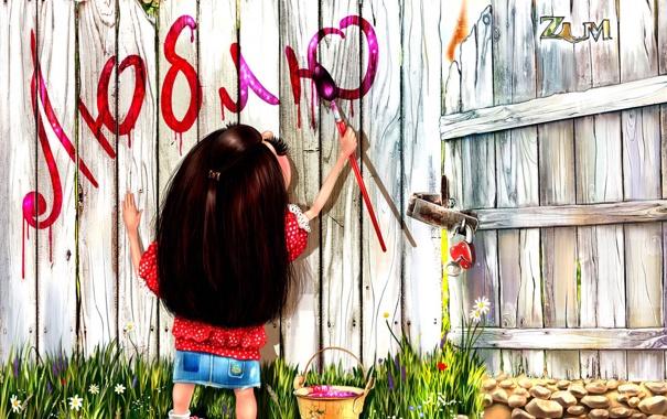 Фото обои забор, девочка, love, paint