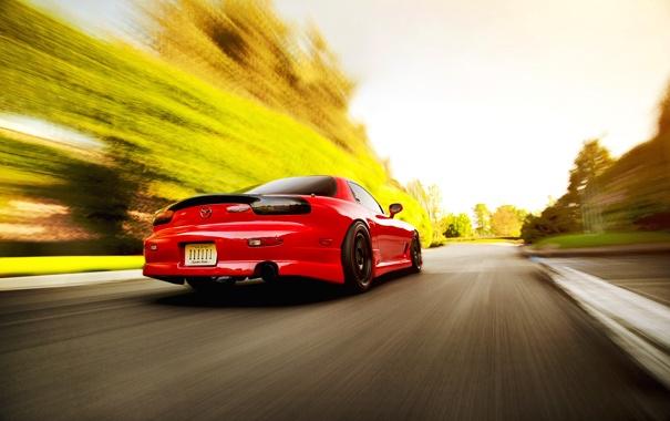 Фото обои скорость, размытость, red, Mazda, блик, красная, мазда