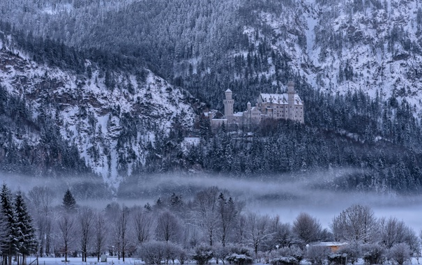 Фото обои зима, снег, деревья, горы, туман, Германия, Бавария