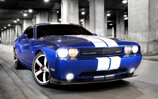 Фото обои машина, синий, додж