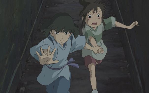 Фото обои аниме, мальчик, арт, девочка, Хаяо Миядзаки, унесенные призраками, тихиро