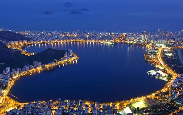 Фото обои ночь, огни, лагуна, Бразилия, Рио-де-Жанейро, Родриго де Фрейтас
