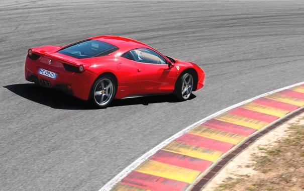 Фото обои Красный, Авто, Машина, Феррари, Поворот, Ferrari, Трасса