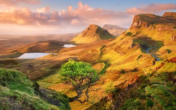 Фото обои дорога, небо, облака, горы, дерево, озера, Шотландия