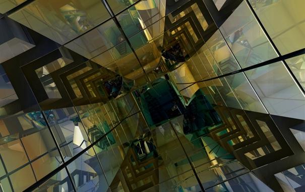 Фото обои линии, тоннель, куб, объем, грань