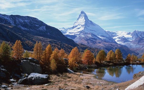 Фото обои осень, лес, горы, озеро