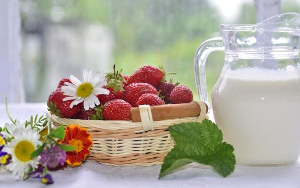 Фото обои цветы, ягоды, ромашки, молоко, клубника