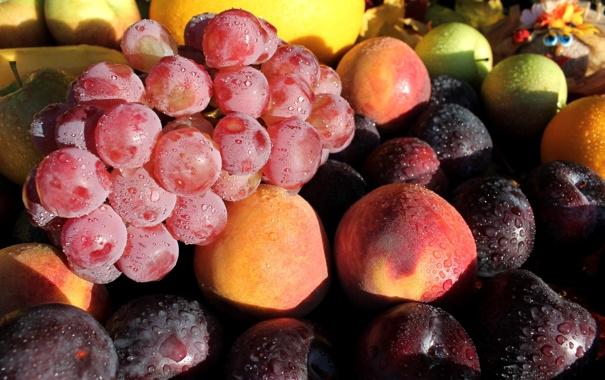 Фото обои виноград, фрукты, персики, сливы