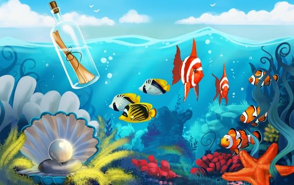 Фото обои море, письмо, рыбы, бутылка, дно, жемчуг, морская звезда