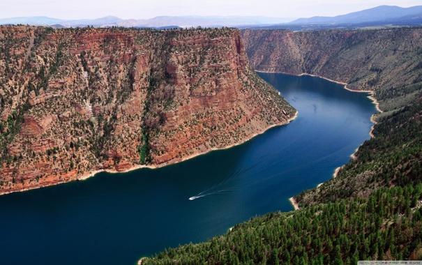 Фото обои лес, река, горизонт, небо, склон, каньон, горы