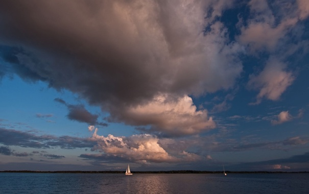 Фото обои облака, парус, небо, море