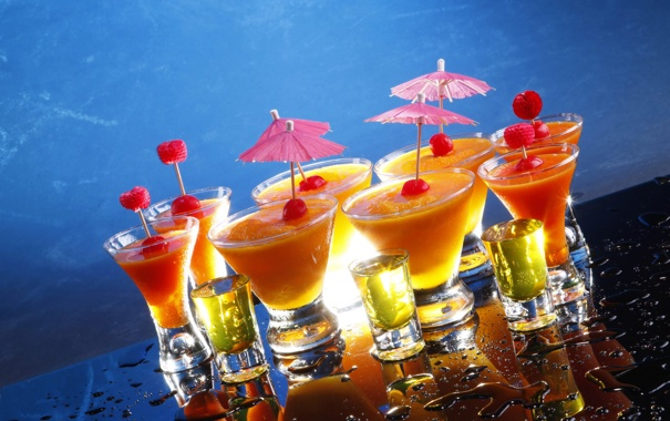 Фото обои капли, бокалы, зонтики, коктейль, напитки, рюмки, drinks