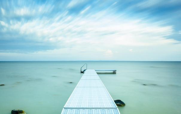 Фото обои Озеро, пирс, США, Lake Michigan