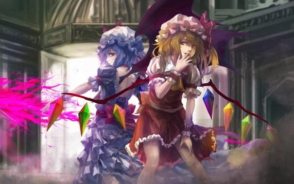 Фото обои девушки, магия, крылья, арт, кристаллы, touhou, remilia scarlet
