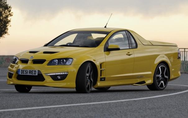 Фото обои небо, желтый, занос, дрифт, пикап, Vauxhall, VXR8