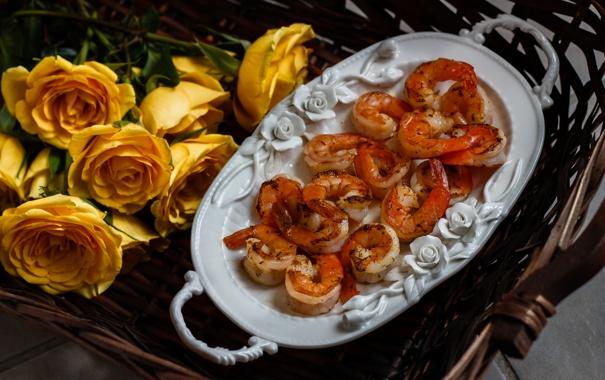 Фото обои морепродукты, креветки, розы, цветы