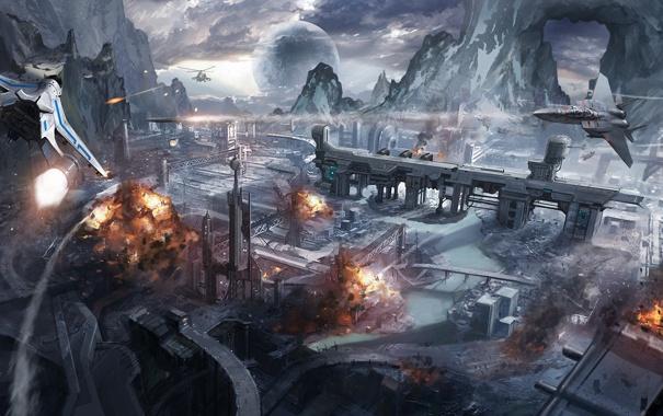 Фото обои скалы, планета, взрывы, вертолеты, арт, самолеты, истребители