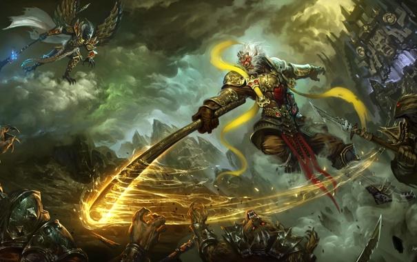Фото обои фантастика, тьма, магия, бой, воин, Wu Kong
