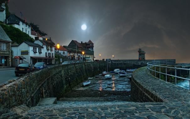 Фото обои дорога, ночь, город, Англия, дома, лодки, Великобритания