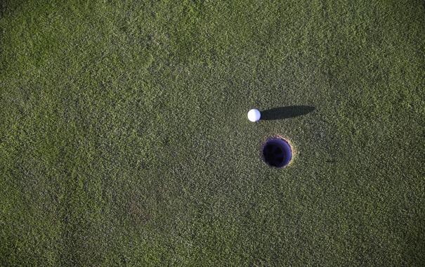Фото обои поле, мяч, лунка, зеленое, гольф