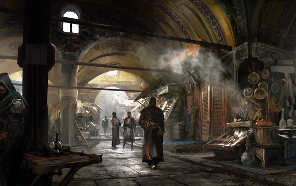 Фото обои базар, константинополь, Assassin's Creed: Revelations, Эцио Аудиторе, Кредо Ассасина, Откровения