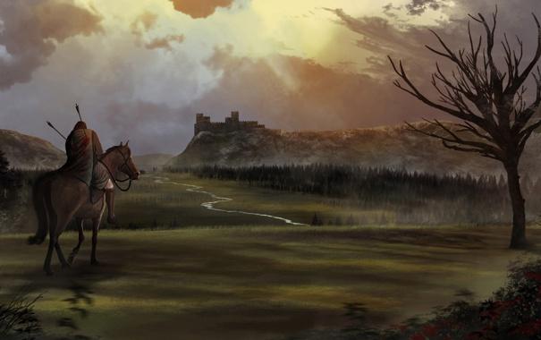 Фото обои пейзаж, река, замок, конь, арт, мужчина, всадник
