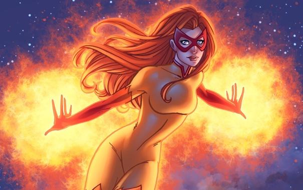 Фото обои супергерой, marvel comics, Firestar, Огненная звезда, Angelica Jones
