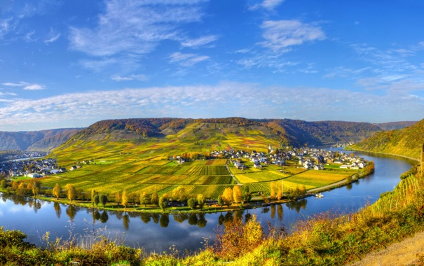 Фото обои небо, пейзаж, природа, город, река, фото, поля