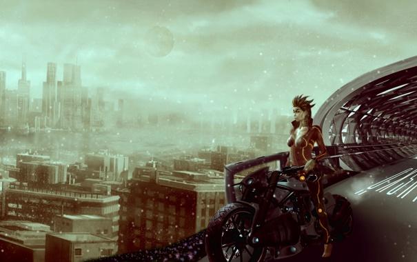 Фото обои взгляд, девушка, мост, город, будущее, фантастика, здания